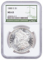 1880 S MORGAN SILVER DOLLAR NGC MINT STATE 63 GREEN LABEL