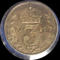 GREAT BRITAIN 1917 3 PENCE OLD WORLD STERLING SILVER COIN  HIGH GRADE