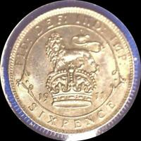 GREAT BRITAIN 1911 6 PENCE OLD WORLD STERLING SILVER COIN HIGH GRADE