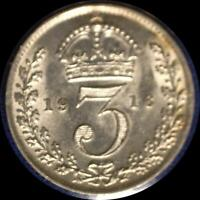 GREAT BRITAIN 19016 3 PENCE OLD WORLD STERLING SILVER COIN BU