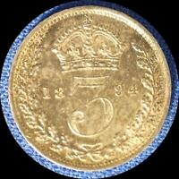 GREAT BRITAIN 1894 3 PENCE OLD WORLD STERLING SILVER COIN UNC. TONED