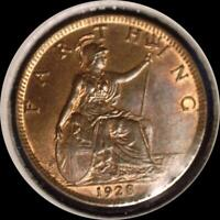 GREAT BRITAIN 1928 FARTHING OLD WORLD COIN UNC. MUCH ORIGINAL LUSTER