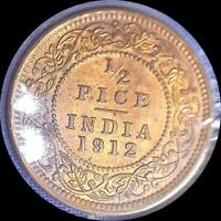 INDIA 1912 1/2 PICE OLD WORLD COIN CH. UNC. SOME ORIGINAL LUSTER
