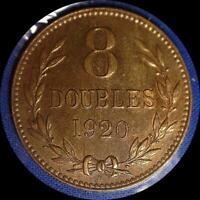 GUERNESEY 1920 H 8 DOUBLES OLD WORLD COIN CH. AU