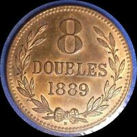GUERNESEY 1889 H 8 DOUBLES OLD WORLD COIN CH. BU SOME ORIGINAL LUSTER