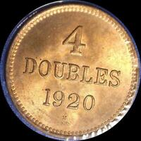 GUERNESEY 1920 H 4 DOUBLES OLD WORLD COIN CH. BU MUCH ORIGINAL LUSTER