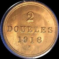 GUERNESEY 1918 2 DOUBLES OLD WORLD COIN CH. BU MUCH ORIGINAL LUSTER