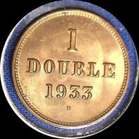 GUERNESEY 1933 H 1 DOUBLE OLD WORLD COIN CH. BU MUCH ORIGINAL LUSTER