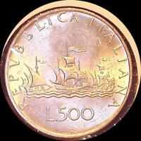 ITALY 1959 R 500 LIRE  OLD WORLD SILVER COIN BU