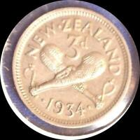 NEW ZEALAND 1934 3 PENCE OLD WORLD SILVER COIN HIGH GRADE