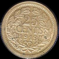 NETHERLANDS 1919 25 CENTS OLD WORLD SILVER COIN HIGH GRADE
