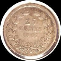 NETHERLANDS 1897 25 CENTS OLD WORLD SILVER COIN