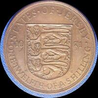 JERSEY 1931 1/12 SHILLING OLD WORLD COIN BROWN UNC. HINT OF LUSTER
