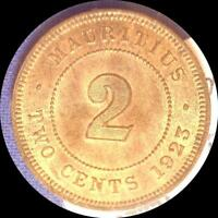 MAURITIUS 1923 2 CENTS OLD WORLD COIN CH. BU MUCH ORIGINAL LUSTER