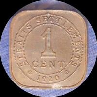 STRAITS SETTLEMENTS 1920 SQUARE CENT OLD WORLD COIN HIGH GRADE