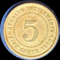 STRAITS SETTLEMENTS 1920 FIVE CENT OLD WORLD COIN HIGH GRADE
