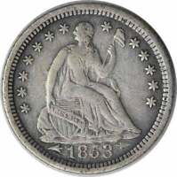 1853 O LIBERTY SEATED SILVER HALF DIME ARROWS VF UNCERTIFIED
