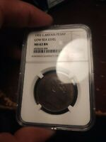 R14 GREAT BRITAIN 1902 PENNY LOW SEA LEVEL NGC MS 63 BROWN