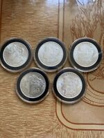 LOT OF 5 BU 1921 P $1 MORGAN SILVER DOLLARS UNC COINS ARE 10