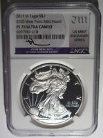 2017-W SILVER EAGLE $1 PROOF NGC PF70 UCAM 2020 WEST POINT MINT HOARD MERCANTI