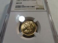 U1 GREAT BRITAIN 1901 GOLD 1/2 SOVEREIGN NGC MS 64
