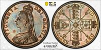 1887 GREAT BRITAIN DOUBLE FLORIN ARABIC 1 S 3923 PCGS MS62 SILVER COIN