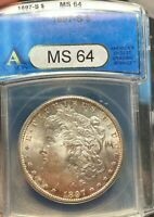 1897-S MORGAN SILVER DOLLAR. ANACS MINT STATE 64. BETTER DATE