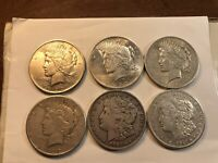 LOT OF 6 US SILVER DOLLARS 1922 1922 S 1921 D 1921 S