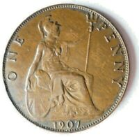 1907 GREAT BRITAIN PENNY   AU   HIGH QUALITY UNCOMMON DATE C