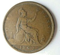 1862 GREAT BRITAIN PENNY   HIGH QUALITY UNCOMMON DATE COIN