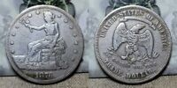 1876 S TRADE SILVER DOLLAR $1 TYPE 2 OBVERSE AND REVERSE  NICE DETAILS CLEANED