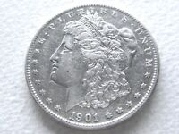 1901 MORGAN SILVER DOLLAR COIN, HIGHLY SOUGHT DATE STRONG DETAIL - 2-J