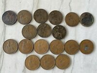 LOT OF UK ONE PENNY PIECES 1884   1967    MIXED DATES