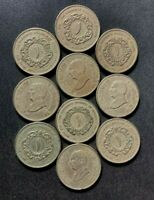 OLD JORDAN COIN LOT   DINARS   10 EXCELLENT UNCOMMON COINS