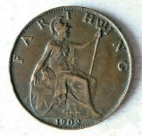 1902 GREAT BRITAIN FARTHING   AU   GREAT STRONG VALUE COIN