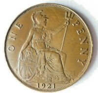 1921 GREAT BRITAIN PENNY   HIGH QUALITY UNCOMMON DATE COIN
