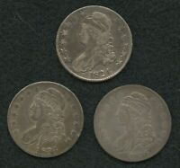LOT OF 3 U.S. CAPPED BUST HALF DOLLARS 1824 1834 1836 ALL WI