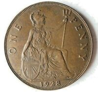 1928 GREAT BRITAIN PENNY   AU   HIGH QUALITY UNCOMMON DATE C