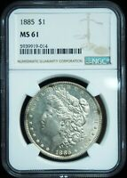 1885-P MORGAN SILVER DOLLAR MINT STATE 61 NGC
