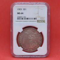 1903 MORGAN US SILVER $1 NGC MINT STATE 64 GRADED CERTIFIED UNC BETTER DATE PQ TONING