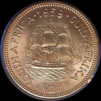 SOUTH AFRICA 1959 1/2 PENNY OLD WORLD COIN CH. UNC LITE TONE