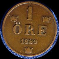 SWEDEN 1889 1 ORE OLD WORLD COIN