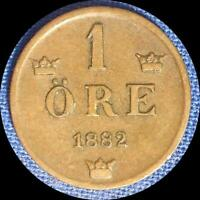 SWEDEN 1882 1 ORE OLD WORLD COIN