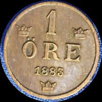 SWEDEN 1883 1 ORE OLD WORLD COIN