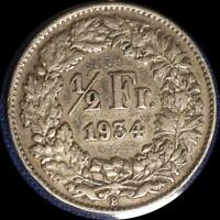 SWITZERLAND 1934  1/2 FRANC OLD WORLD SILVER COIN