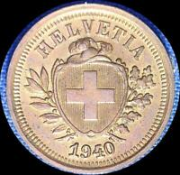 SWITZERLAND 1940 1 RAPPEN OLD WORLD COIN CH.UNC.SOME RED