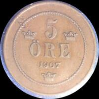 SWEDEN 1907 5 ORE OLD WORLD COIN