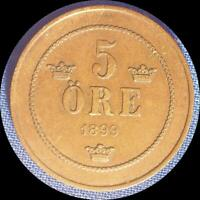 SWEDEN 1899 5 ORE OLD WORLD COIN 1267