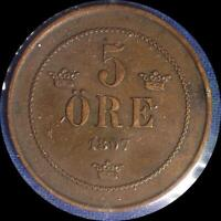 SWEDEN 1897 5 ORE OLD WORLD COIN