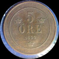 SWEDEN 1899 5 ORE OLD WORLD COIN